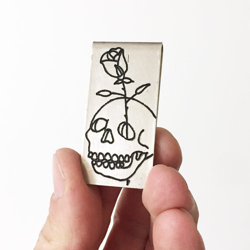 Skull Rose Money Clip
