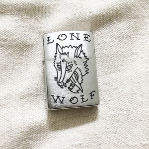 Lone Wolf Hand-Engraved Zippo (One of a Kind)