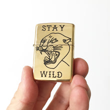 Load image into Gallery viewer, Stay Wild Hand-Engraved Zippo (Polished Brass)