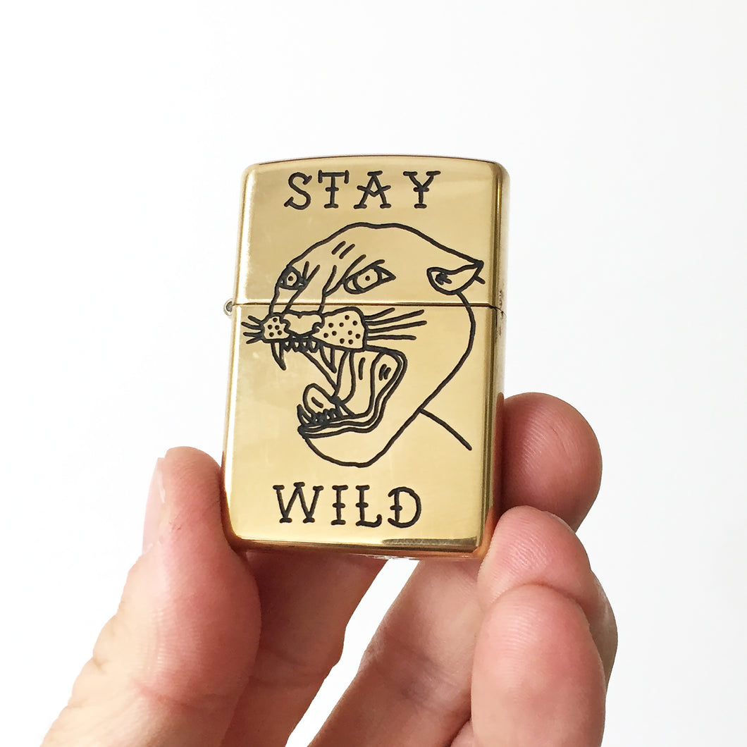 Stay Wild Hand-Engraved Zippo (Polished Brass)