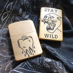 Tooth Hand-Engraved Zippo (One of a Kind)