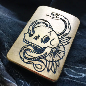 Snake and Skull Hand-Engraved Zippo (One of a Kind)