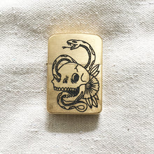 Load image into Gallery viewer, Snake and Skull Hand-Engraved Zippo (One of a Kind)