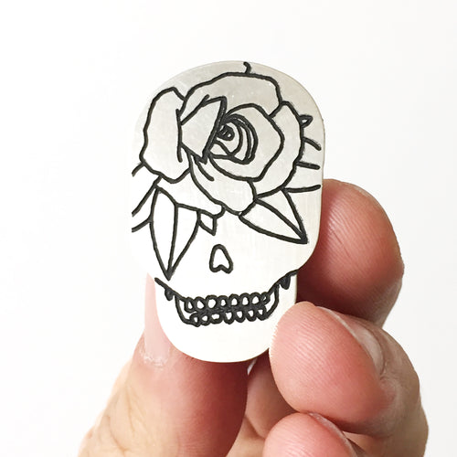 Rose Skull Silver Hand-Engraved Lapel Pin