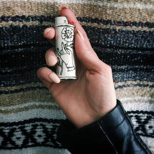 Holding Rose Hand-Engraved Lighter Sleeve
