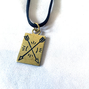 Hand-Engraved Crossed Arrows Necklace