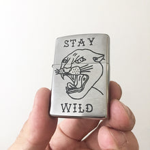 Load image into Gallery viewer, Stay Wild Hand-Engraved Zippo (Chrome)