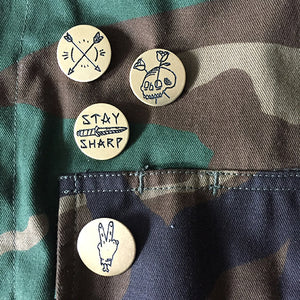 Stay Sharp Hand-Engraved Lapel Pin