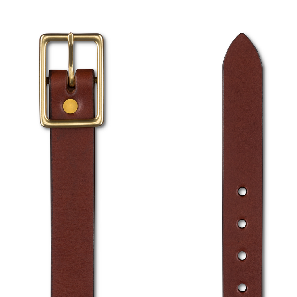 Center Bar Belt in Caramel & Brass - New! Belt - Blake Goods - English Bridle Leather Belt