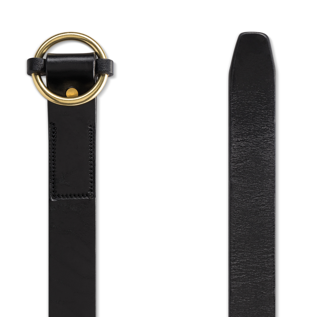 Circle Belt in Jet & Brass Belt - Blake Goods - English Bridle Leather Belt
