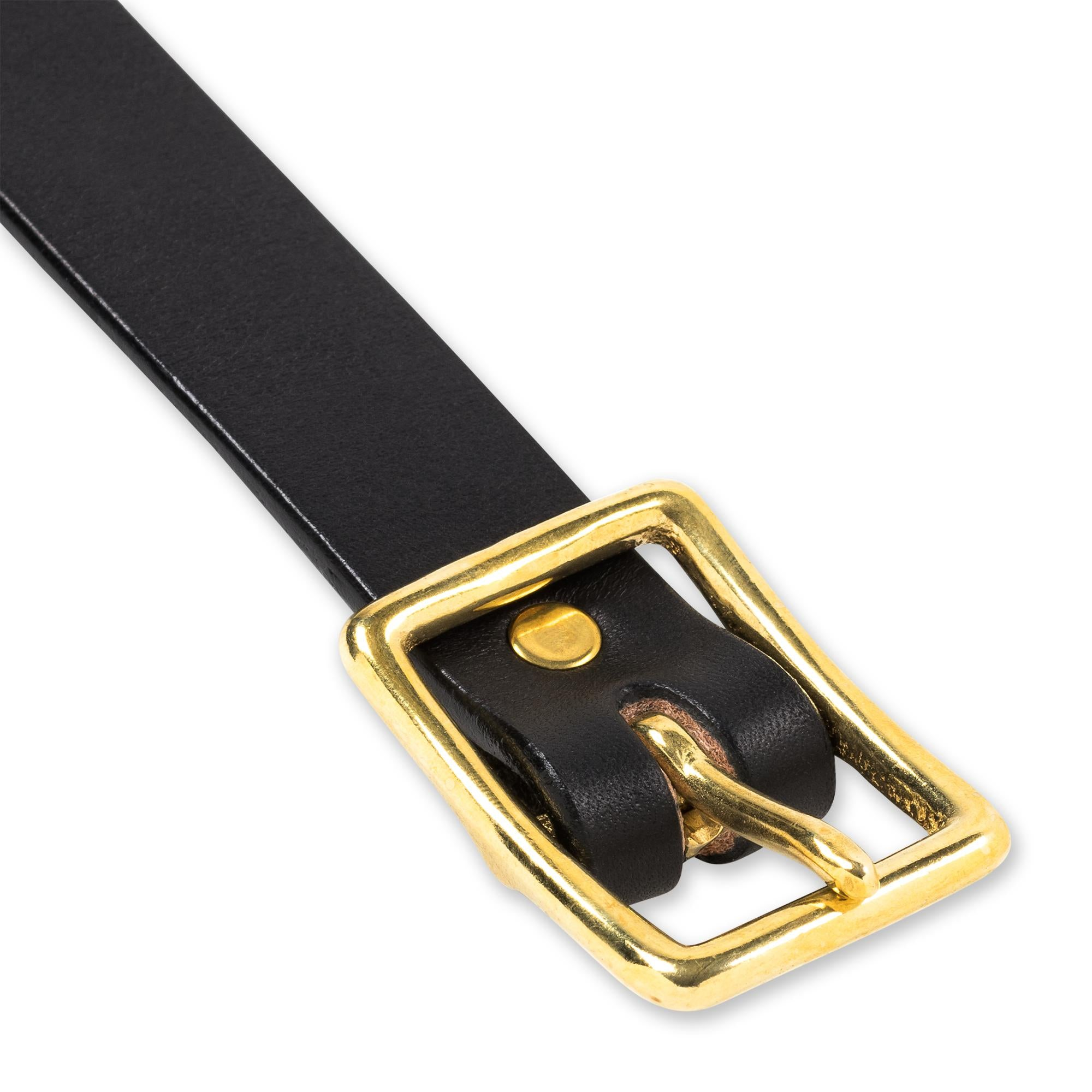 Center Bar Belt in Jet & Brass Belt - Blake Goods - English Bridle Leather Belt