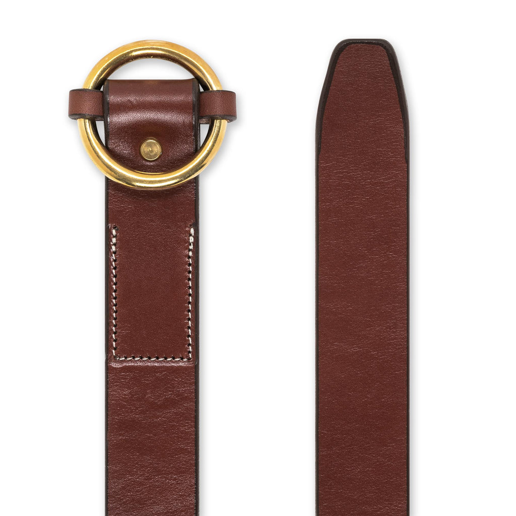Circle Belt in Caramel & Brass Belt - Blake Goods - English Bridle Leather Belt