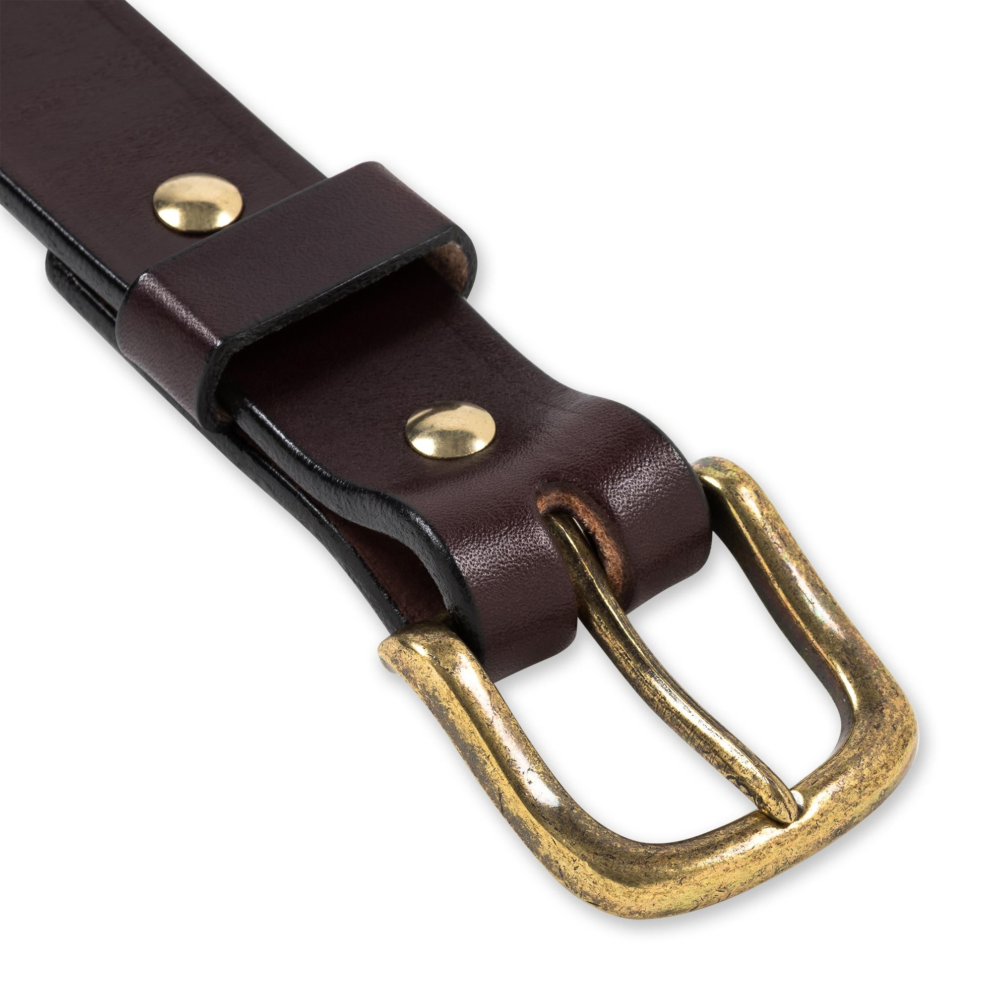 Everyday Belt in Chocolate & Antiqued Brass Belt - Blake Goods - English Bridle Leather Belt
