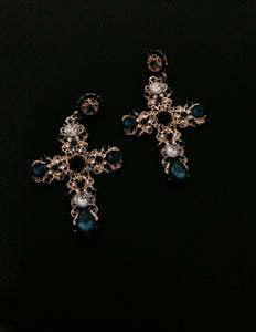Large Vintage Cross Earrings