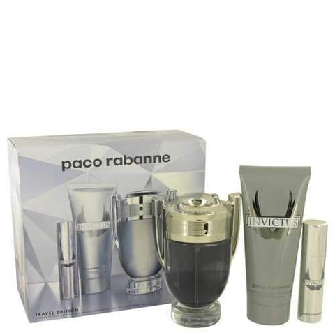 Invictus by Paco Rabanne Gift Set -- 3.4 oz Eau De Toilette Spray + .34 oz Mini EDT Spray +3.4 oz Body Wash (Men)