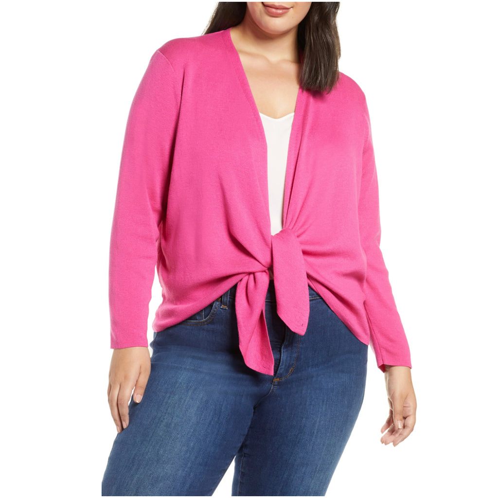 Bright pink NIC+ZOE plus size 4 way cardigan
