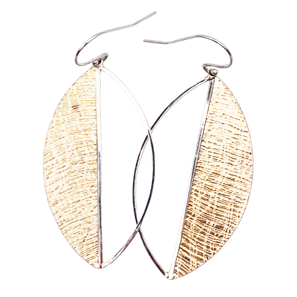 Mixed Metal Leaf Earrings by Dana Reed Designs