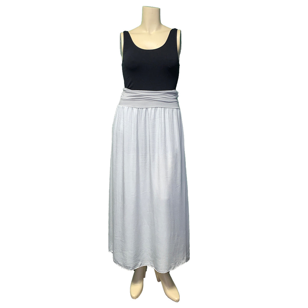 Pale grey maxi skirt with waist ruching