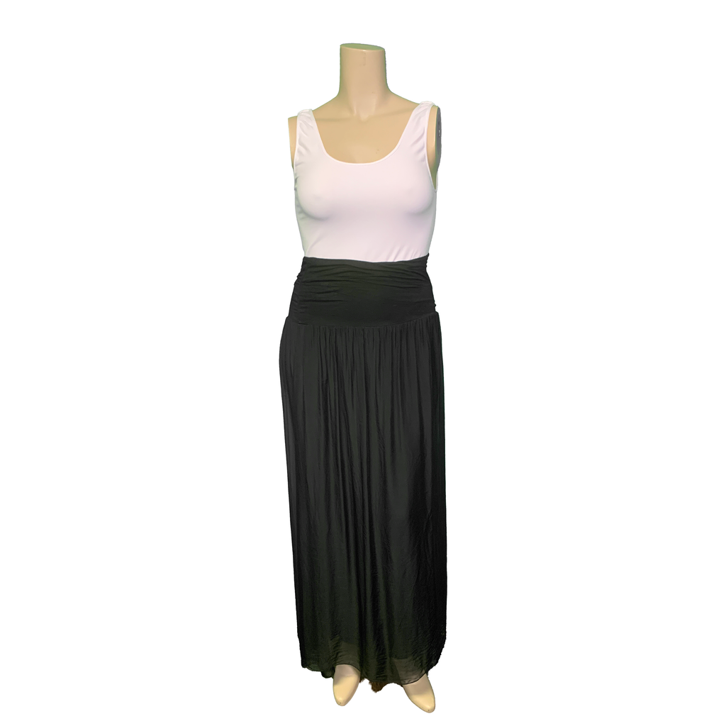Black silk layered maxi skirt