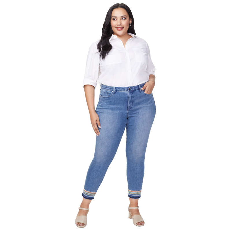 Ami Ankle Embroidered Jeans - Plus - Size Down