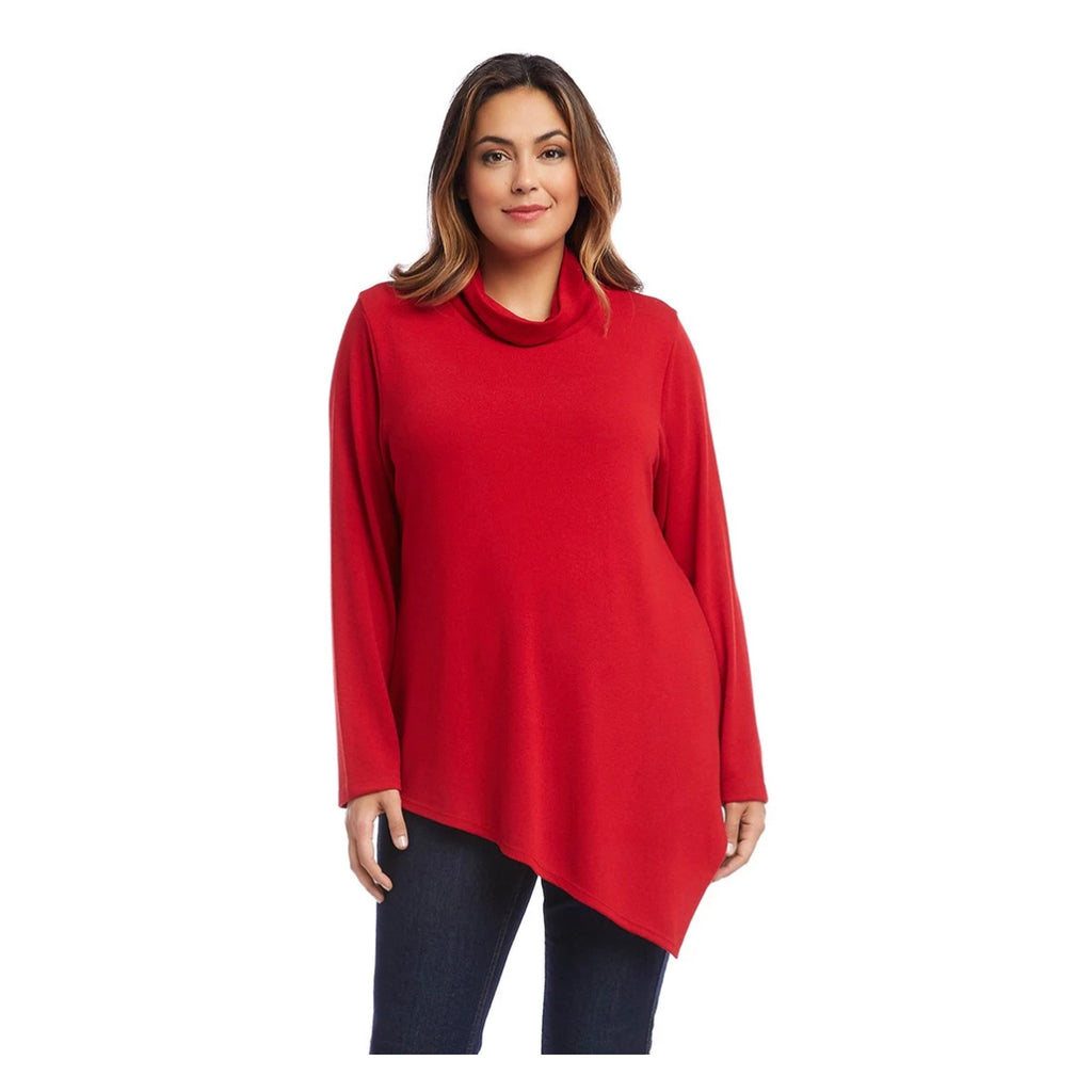 Red asymmetric hem turtleneck sweater