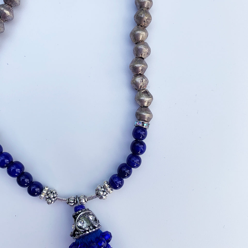 Blue and silver long chain Tassel necklace