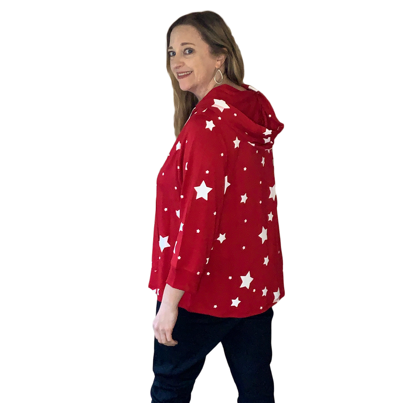 Red plus size hoodie with white stars
