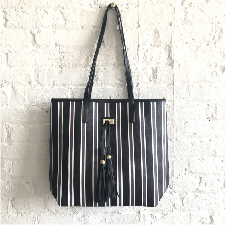 Black, White, and Grey Stripe Tote with Removable Interior Pouch