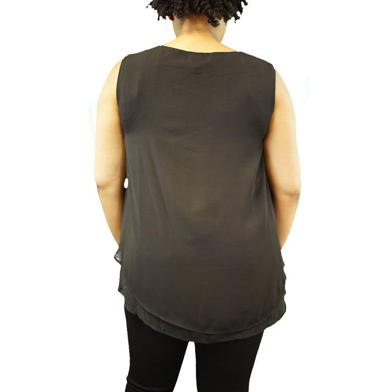 Layered black plus size tank top