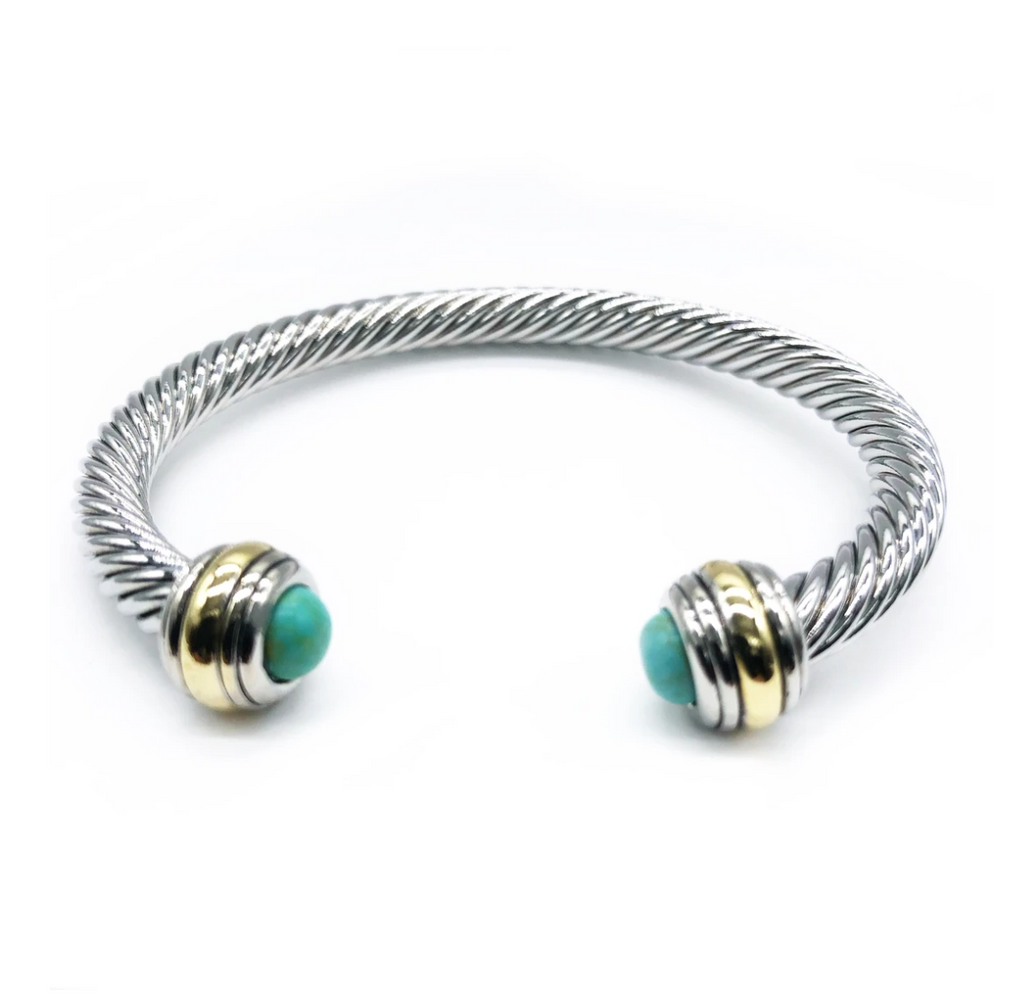 Silver Cable Bracelet with turquoise and gold caps
