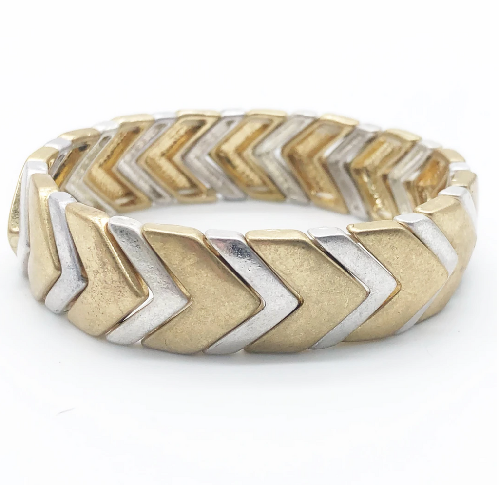 Elastic bracelet - gold and silver chevron beads