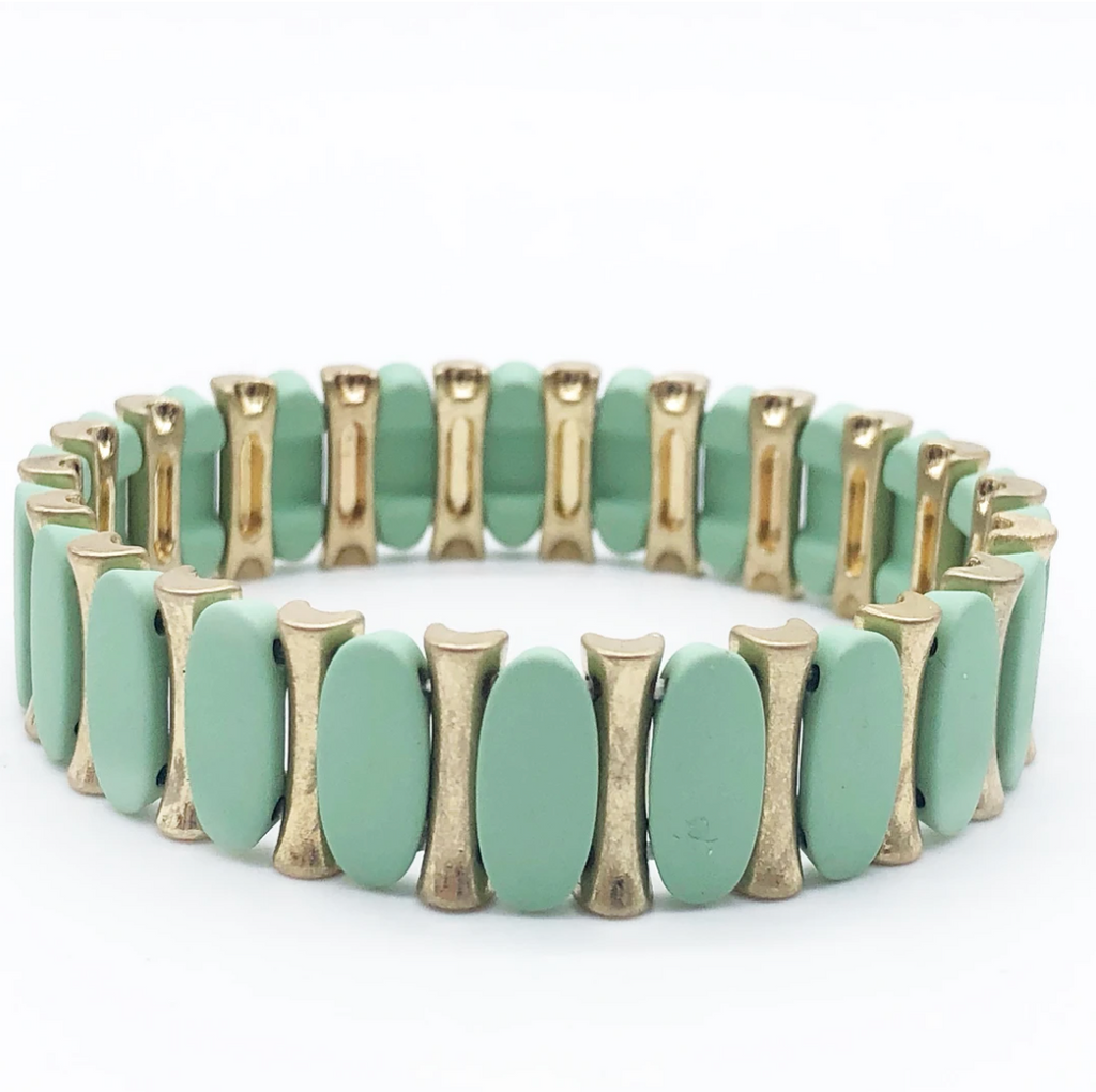 Pastel Bead and Gold Enamel Tiles Stretch Bracelet