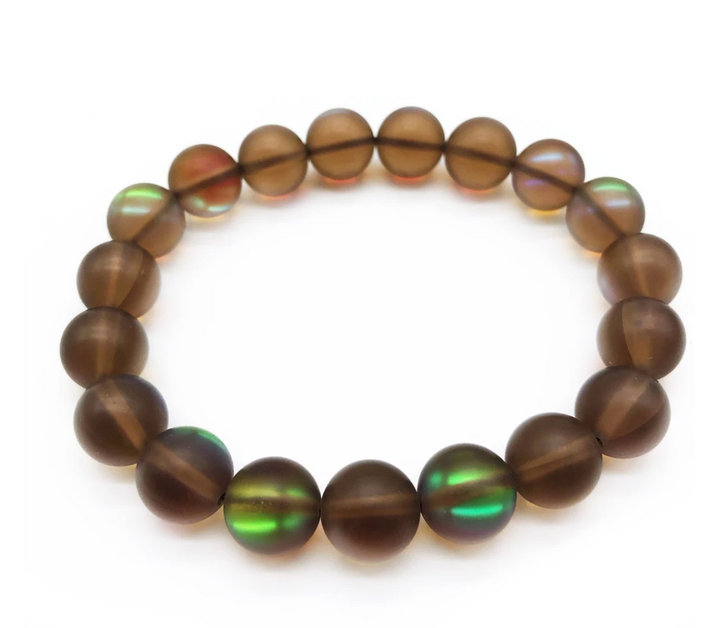 Bracelet made of brown iridescent beads