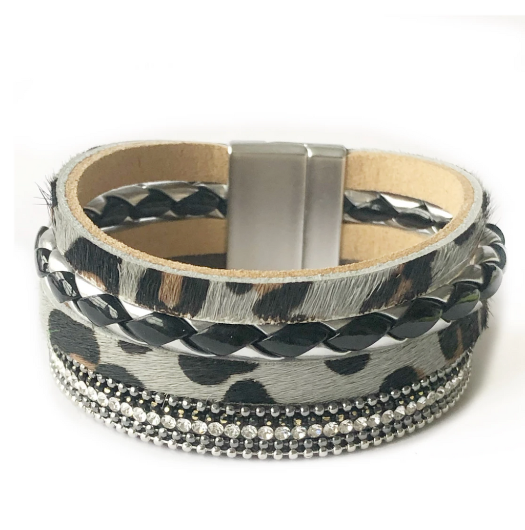Vegan leather bracelet with grey leopard print, crystal, black and silver details,