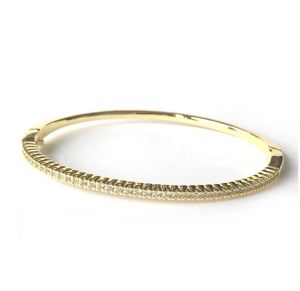 Pave Bangle Bracelet - Gold or Silver