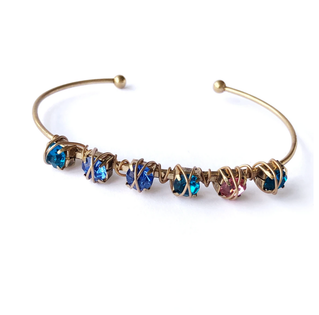gold bangle bracelet with rainbow crystal stones