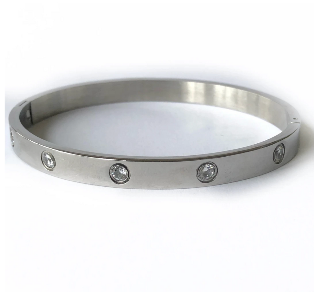 Silver hinge bracelet with inlaid round crystals