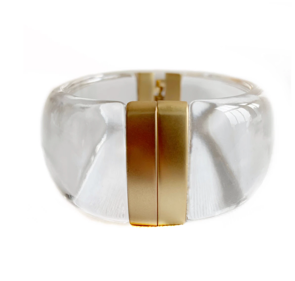 clear lucite cuff bracelet with gold clasp and hinge