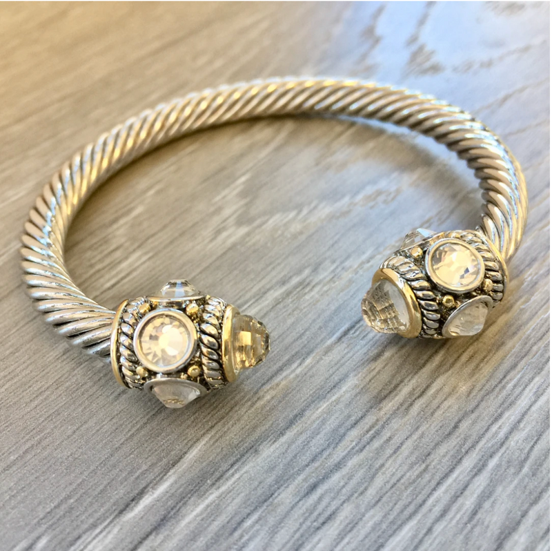 cable cuff bracelet with crystal cap detail
