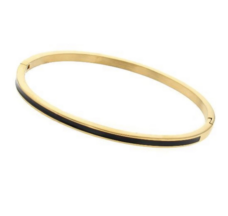 Bangle bracelet with enamel - gold with black