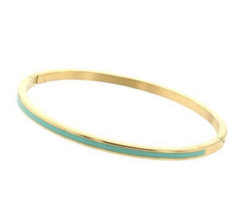 Bangle bracelet with enamel - gold with green