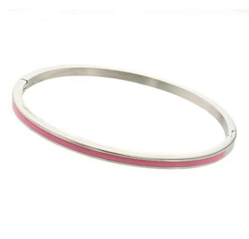 Bangle bracelet with enamel - silver with pink
