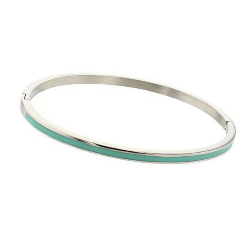 Bangle bracelet with enamel - silver with green