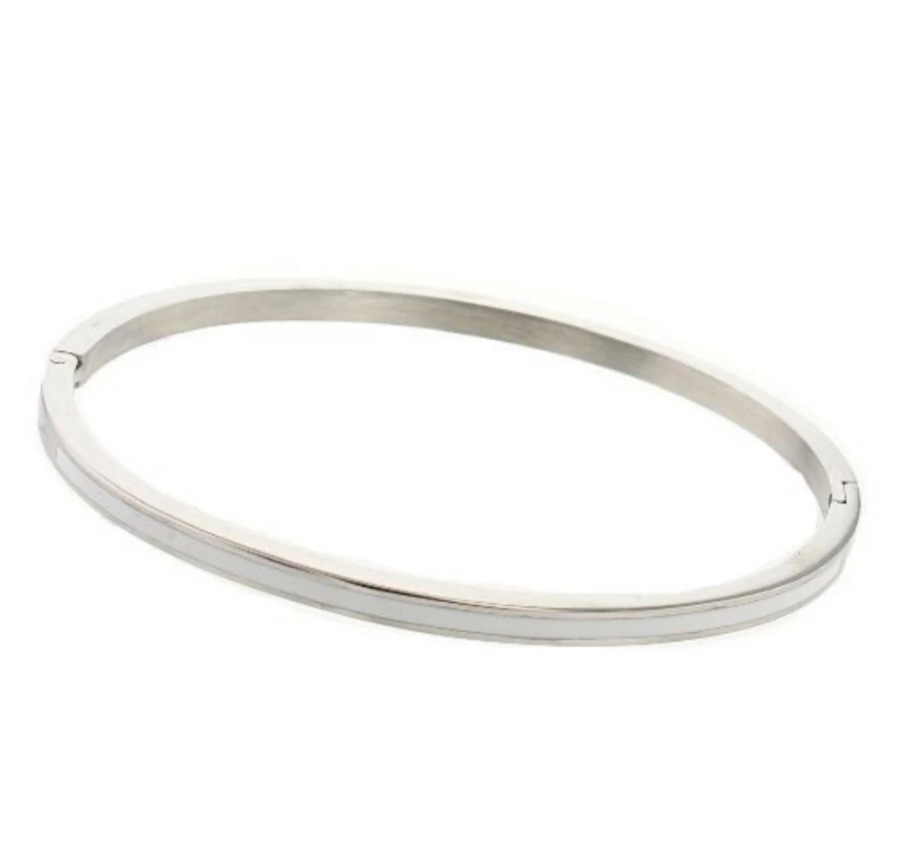 Bangle bracelet with enamel - silver with white
