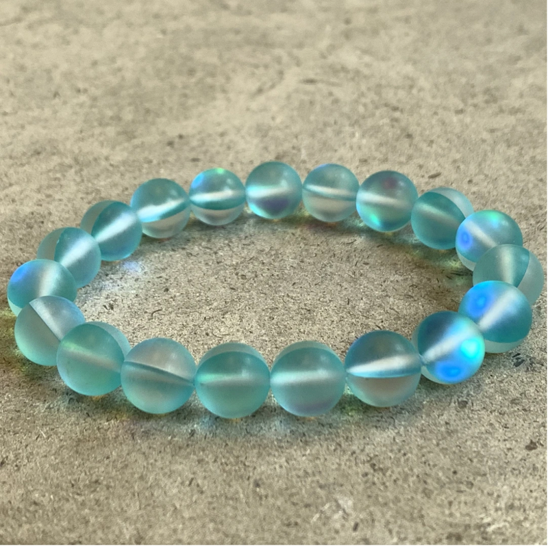 Bracelet made of aqua iridescent beads