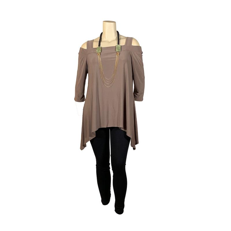 Taupe cold shoulder plus size tunic