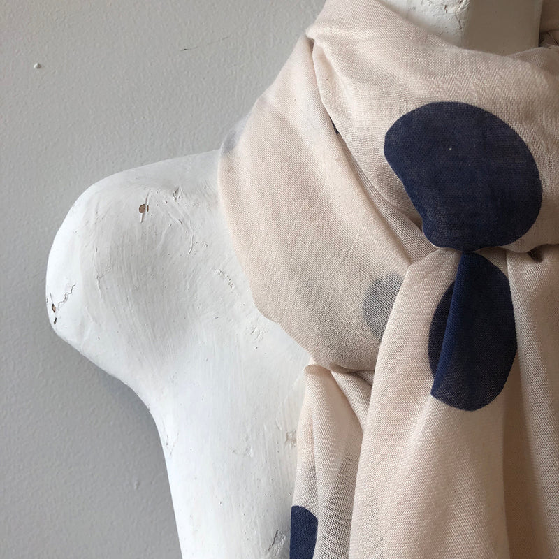 ivory fashion scarf with blue polk dots