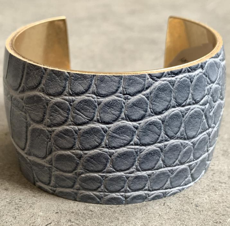 Grey Crocodile Cuff Bracelet