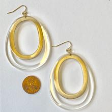 Gold and lucite hoop earrings