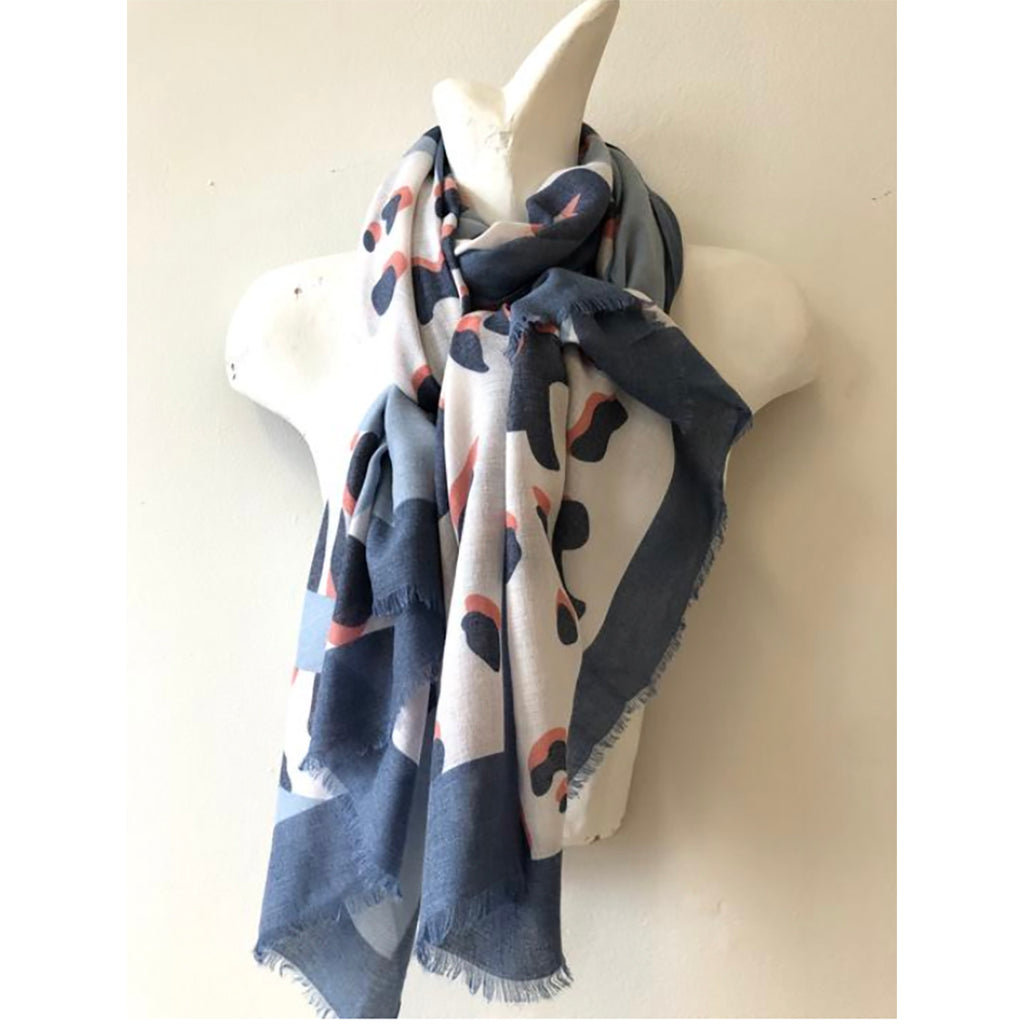 Animal Print Scarf Cashmere Blend with Blue Border